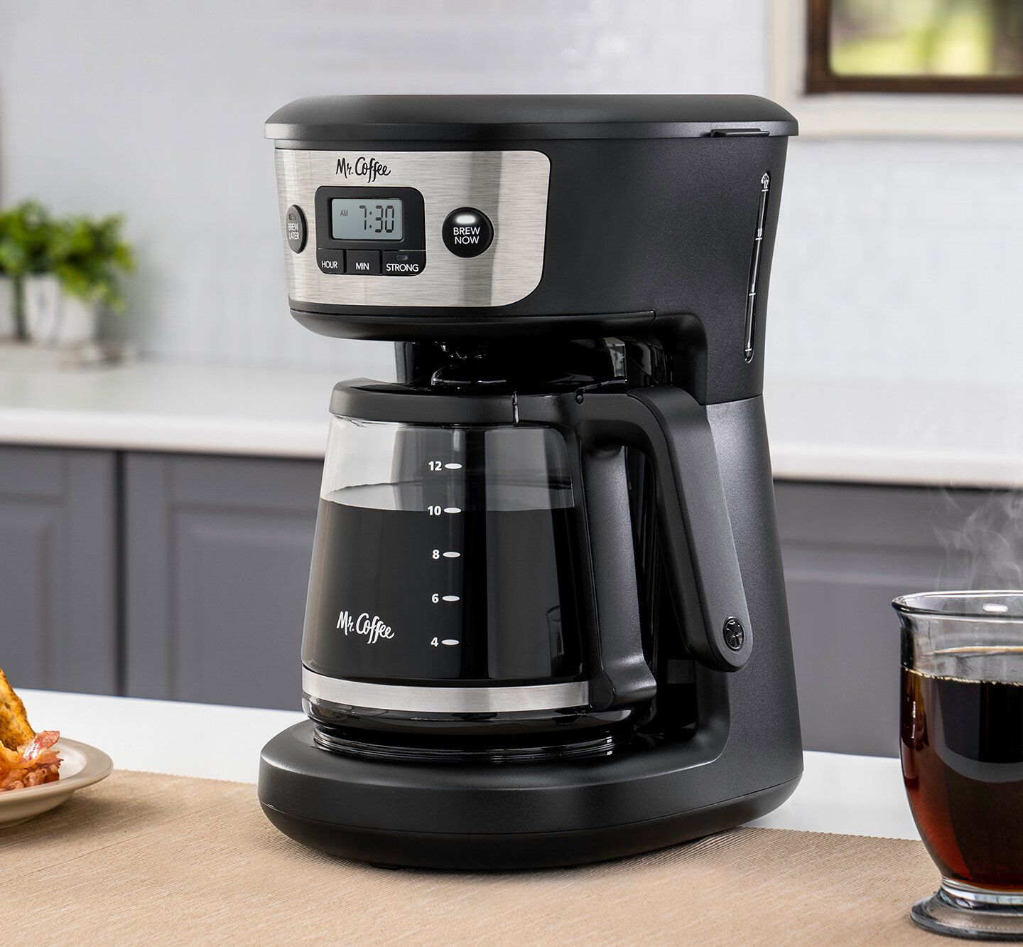 digital coffee maker after brewing a pot of coffee