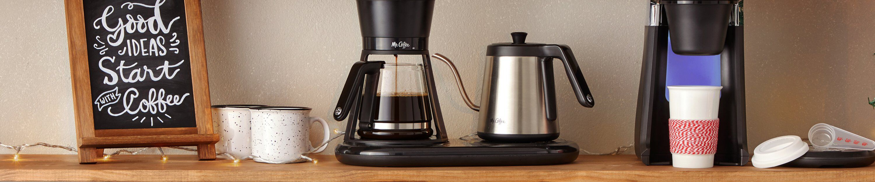 pour over coffee maker and instant coffee maker on counter