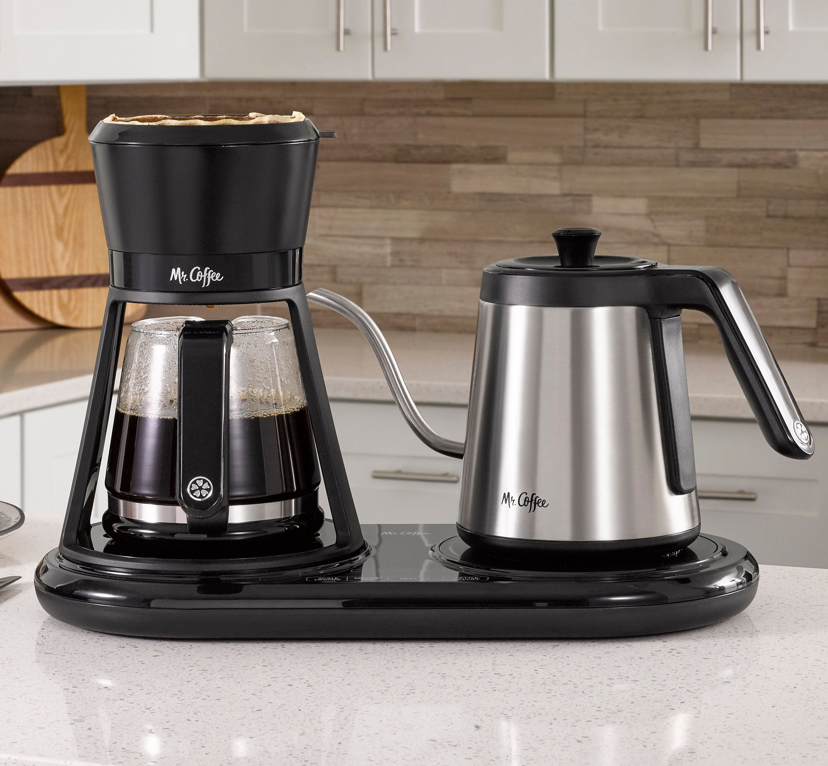 image of mr coffee all-in-one pour over coffee maker on countertop