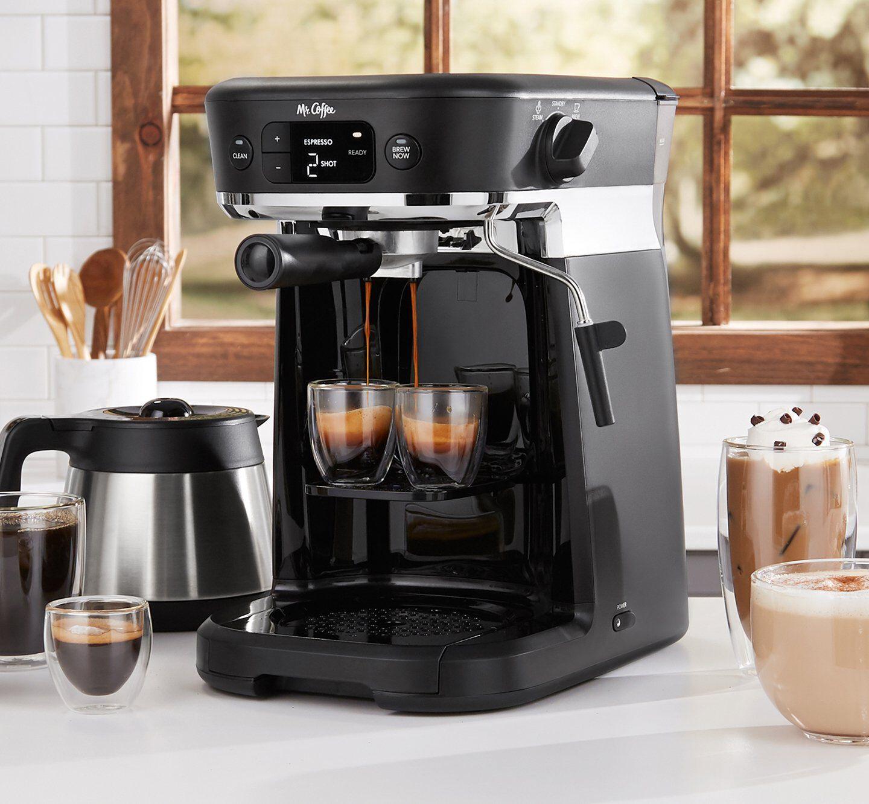 all in one coffee maker preparing espresso maker